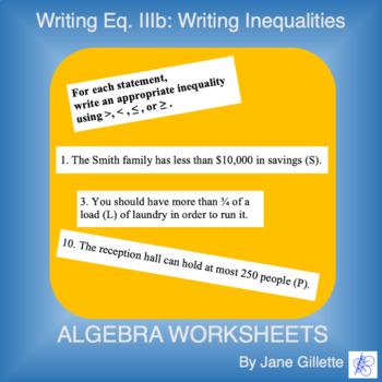 Writing Equations. IIIb: Writing Inequalities