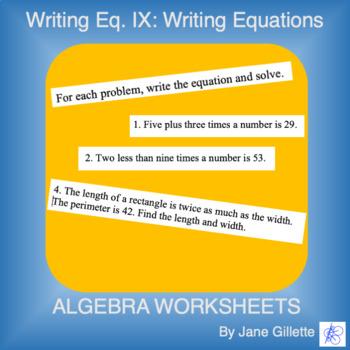 Writing Equations. IX: Writing Linear and Quadratic Equations