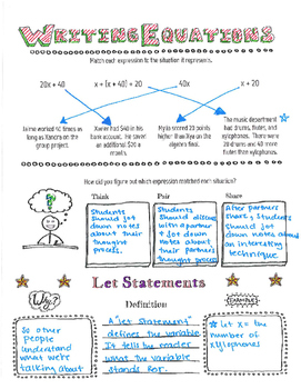 Writing Equations- Let Statements Doodle Notes