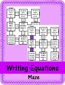 Writing Equations Maze