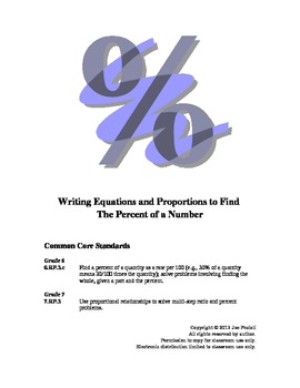 Writing Equations & Proportions to Solve Percent Problems