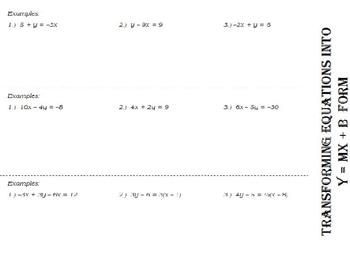 Writing Equations Slope Intercept Form (foldable)