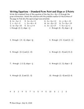 Writing Equations - Standard Form Point and Slope or 2 Points