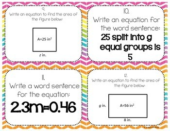 Writing Equations Task Cards