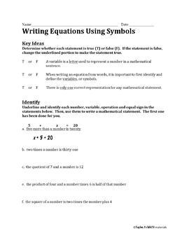 Writing Equations Using Symbols Worksheet by Taylor J's Math ...