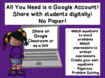 Writing Equations Using Variable or Letter for the Unknown Google Classroom 5.4B