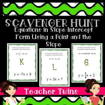 Writing Equations When Given Slope and  Point Scavenger Hunt