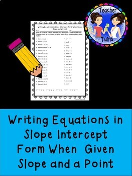 Point Slope Form Worksheet Teaching Resources Teachers Pay Teachers