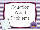 Writing Equations Word Problems Worksheet