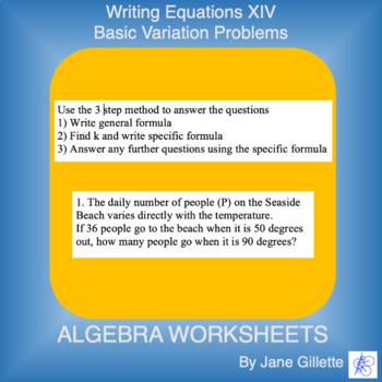 Writing Equations XIV - Basic Variation Problems