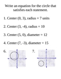 Writing Equations for Circles Review Stations