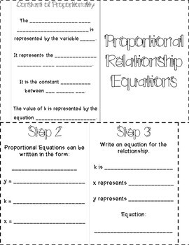 Writing Equations from Proportions - Constant of Proportionality INB TEKS 7.4C