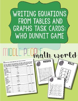 Writing Equations from Tables & Graphs Using Unit Rate Who Dunnit Game