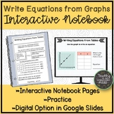 Writing Equations from Tables Math Notebook Page and Exit Tickets