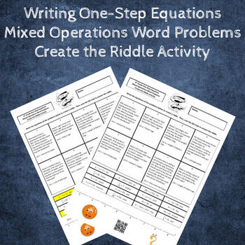 Writing Equations from Word Problems All Four Operations Create a Riddle