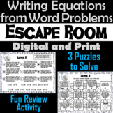 Writing Equations from Word Problems: Algebra Escape Room (One-Step Equations)