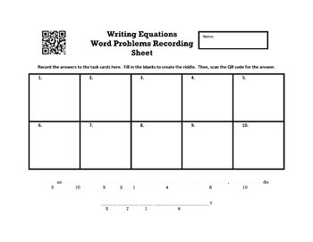 Writing Equations from Word Problems Full Color Create a Riddle Task Cards