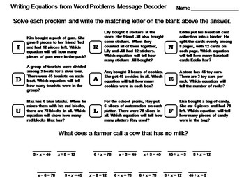 Writing Equations from Word Problems Worksheet: Math Message ...