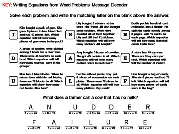 Writing Equations from Word Problems Worksheet: Math Message Decoder