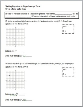 Writing Equations from a Point and Slope (Guided Notes and