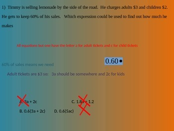 Writing Equations from word problems multiple choice cure