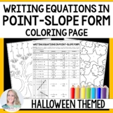 Writing Equations in Point Slope Form Halloween Coloring Worksheet