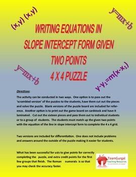 Writing Equations in Slope Intercept Form Given Two Points Math Puzzles