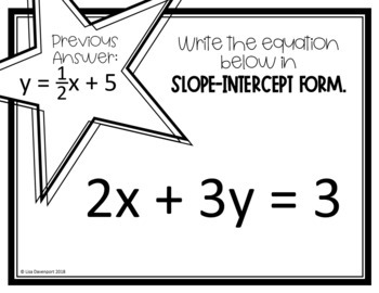 Writing Equations in Slope-Intercept Form (Scavenger Hunt)