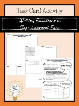 Writing Equations in Slope-intercept Form Task Card Activity