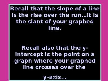 Algebra Power-Point:  Writing Equations in slope Intercept Form