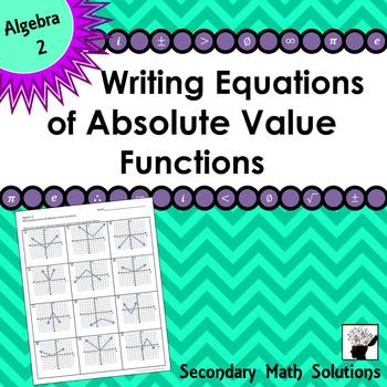 Writing Equations of Absolute Value Functions Practice (2A.6D)