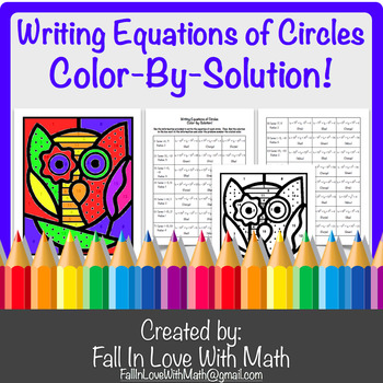 Writing Equations of Circle Color-By-Number!