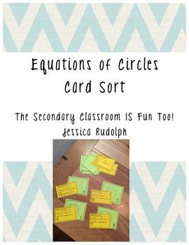 Writing Equations of Circles Card Sort