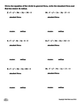 Writing Equations of Circles: Standard and General Form