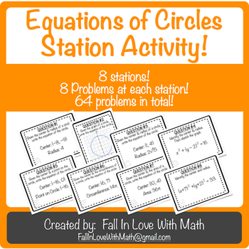 Writing Equations of Circles Station Activity!