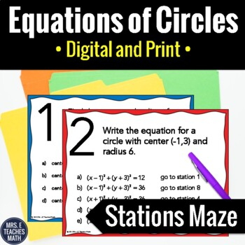 Equations of Circles Stations Maze Activity