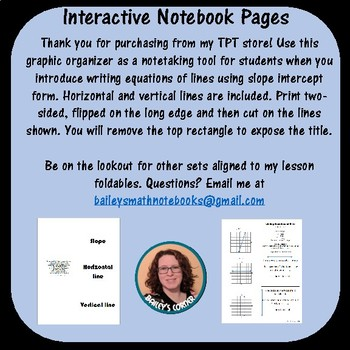 Writing Equations of Lines Foldable for Interactive Notebook