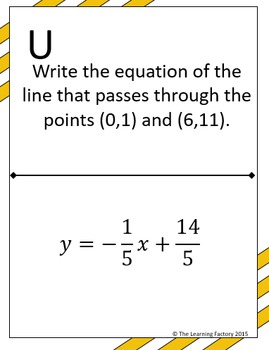 Writing Equations of Lines Scavenger Hunt