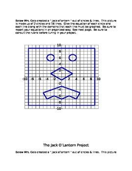 Writing Equations of Lines & Circles - using Jack O'Lanterns