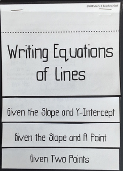 Writing Equations of Lines Flipbook
