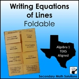 Writing Equations of Lines Foldable (A2B, A2C, A2E, A2F)