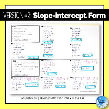 Writing Equations of Lines Given 1 and 2 Points Foldable