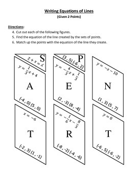 Writing Equations of Lines Puzzle (Given 2 Points)