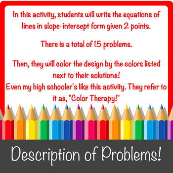 Writing Equations of Lines Given Two Points Color-by-Number!