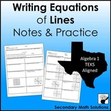 Writing Equations of Lines Notes & Practice (y = mx + b only) (A2B, A2C)