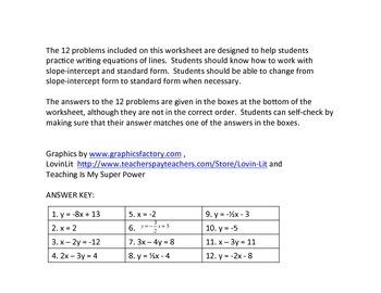 Writing Equations of Lines Jumble