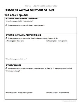 Writing Linear Equations Lesson