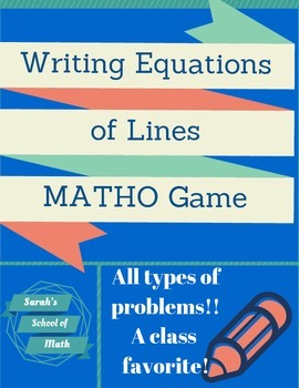 Writing Equations of Lines Matho Game (all types of problems!)
