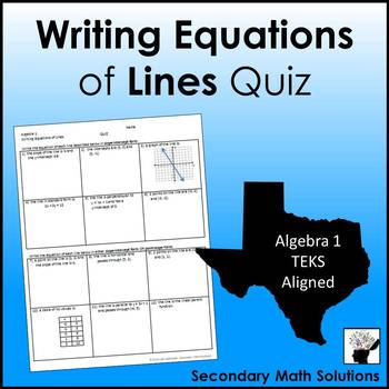 Writing Equations of Lines Quiz (A2B, A2C)