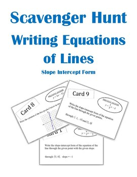 Writing Equations of Lines Scavenger Hunt Activity (Slope Intercept From)